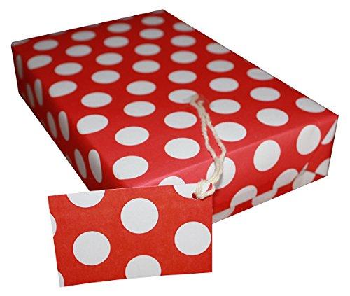 re-wrapped-1Bogen mit 2passenden Swing Tags von Umweltfreundlich recyceltem Geburtstag Geschenkpapier,-Polka Dot Rot von UK Designer Tracy umney