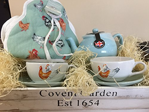 Luxury tea hamper for two, farmhouse tea set with serving tray