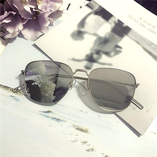 Sunyan Feinfilterbehälter neue Sonnenbrille personalisierte reflektierende minimalistischen Sonnenbrille Trend auf der koreanischen Version der Männer und Damen Brillen fashion, Rot, Silber und Schwarz-Box.