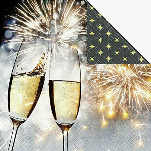 AvanCarte Servietten Silvester Neujahr Feuerwerk Sekt 20 Stück 3-lagig 33x33cm