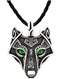 Collar con colgante en forma de cabeza de lobo de Vikings, ojos color verde esmeralda, hecho a mano, de plata envejecida