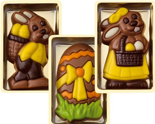 Schokoladen Geschenkbox Ostern, 36 Stück je 10g, 3-fach sortiert, einzeln verpackt Größe: 65x40 mm