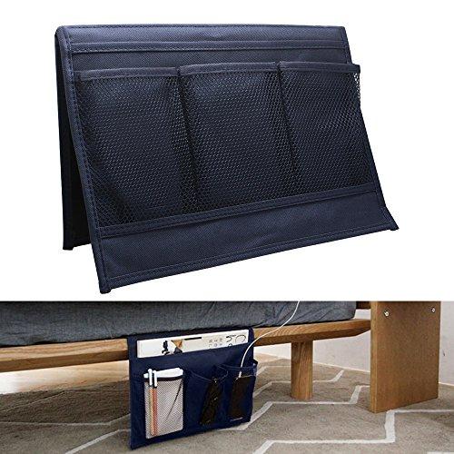 Yotako - Organizador de almacenamiento para lateral de cama, 4 bolsillos, para gafas, revistas, mando a distancia
