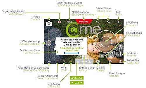 C-me 20050 - Die fliegende Selfie-Kamera für Full HD-Videos und 8-MP-Fotos, fliegende Selfie-Cam mit GPS-Unterstützung, zusammenfaltbar, einfach per Smartphone fliegen, filmen und sofort teilen, schwarz - 7