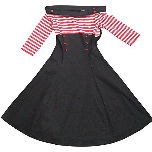 iBaste Fuori Dalla Spalla Vintage Vestito Eleganti Donna Stile Hepburn Abito Cocktail Strisce Orizzontali Rosso