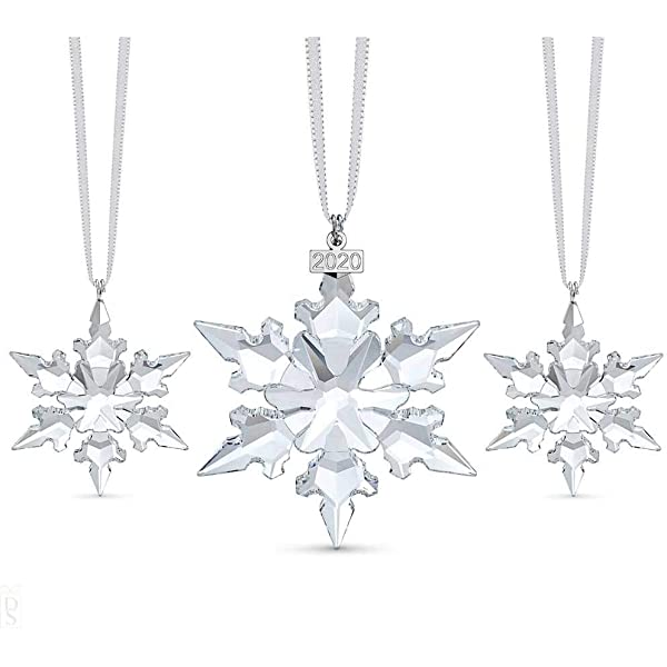 Swarovski Snowflake Anniversary Ornament Set Limited Edition For 2020 Swarovski Crystal Christmas Tree And Home Ornament Amazon Co Uk Kitchen Home
