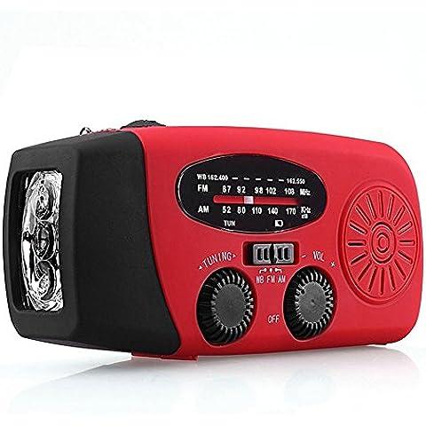 Emwel linterna Solar LED función AM / FM Radio, cargadores de teléfonos móviles portátiles y de mano - para viajes, Camping o emergencia