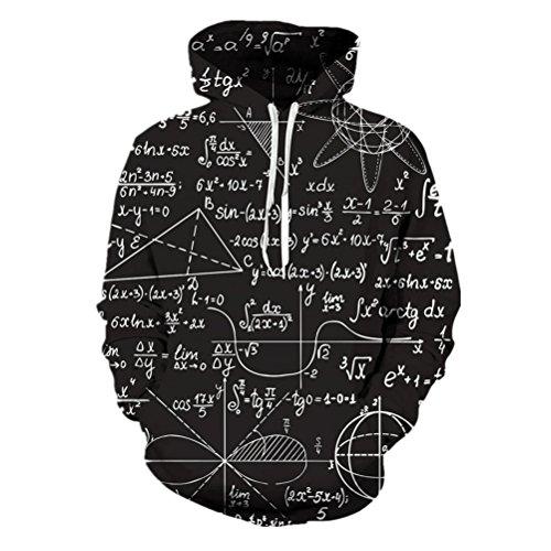 Uideazone Personality Styles Mens All Over Print Mathe Formula Drawstring Hoodie Sweatshirts (Zugschnur Schwarz Baumwolle)