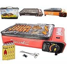 Camping BBQ Gasgrill Gasbräter Grill Tragbar Barbecue Tischgrill inkl. Grillplatte Grillaufsatz + Grillrost + Spieße + 4x Gaskartuschen + Tragkoffer (Farbe: Schwarz, Rot oder Orang)