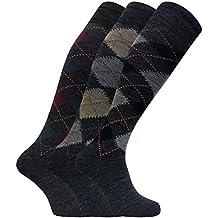 3 paia uomo lunghi lunghe caldo calzini   calze lana in grigio e marrone ad75594936e2