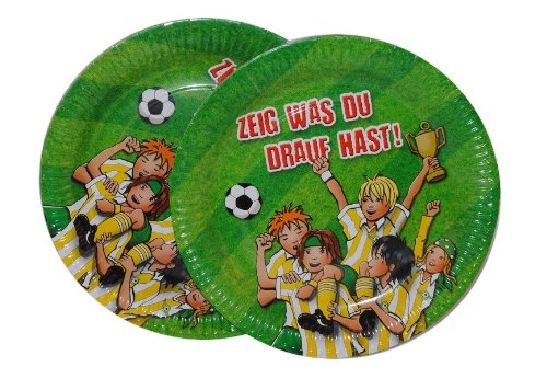 8 tlg. Set Pappteller Fußball Teller Essen Kinder Kinderparty Pappe Team Fussball Sport Ball grün