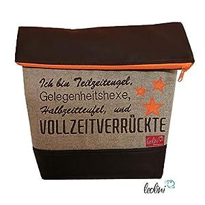 Foldover Tasche Spruch Vollverrückte Stickerei handmade Foldovertasche mit Außenfach