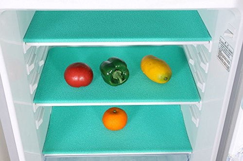Food Storage Organizer (Elfin 18.5x11.8 Inches Food Grade Silica Gel Fresh-keeper and Food Storage Organizer Shelves Fridge Mat Extending the Life of Produce(Green))