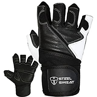 Steel Sweat Weightlifting Gloves - 18 inch Wrist Wrap Support for Workout, Gym and Fitness Training - Best for Men and Women Who Love Weight Lifting - Leather ZED Black Large