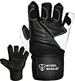 Steel Sweat Weightlifting Gloves - 18 inch Wrist Wrap Support Workout, Gym Fitness Training - Best Men Women Who Love Weight Lifting - Leather ZED Black Large