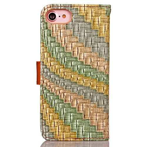 iPhone Case Cover Mischfarben-PU-Leder-Kasten-Schlag-Standplatz-Mappen-Kasten mit Karten-Bargeld-Slot Regenbogen-Muster-Fall-Abdeckung für Apple IPhone 7 ( Color : Yellow , Size : IPhone 7 ) Gray