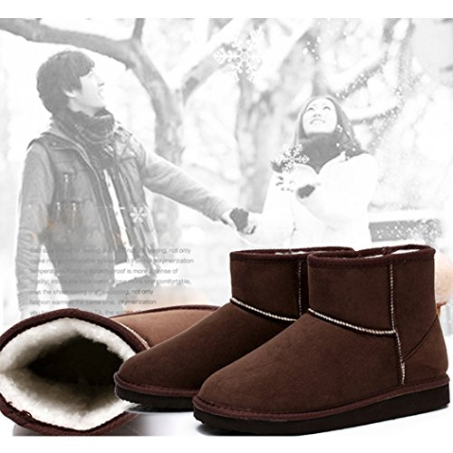 ZEARO Damen Schlupfstiefel   Bequeme Klassiche Stiefeletten   Hidden Wedges Boots Wildlederoptik Kaffee(Kurze Röhre)