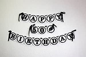 All About Details Black Happy 50th Birthday Banner Amazonin Home