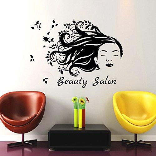 Beauty Salon Wand Decor Hair Fashion Girl Frau Haarschnitt Barbier Friseur Kamm Aufkleber Vinyl Aufkleber Kunst Wandbild MN172 (Haar-salon-wand-kunst)