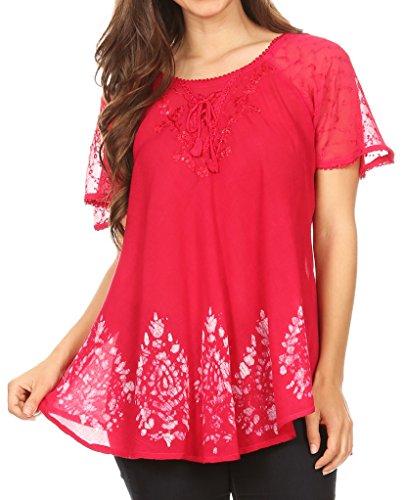 ta Damen Kurzarm Korsett Bluse Top mit Batik und Spitzen Ärmeln - Raspberry - OSP (Rote Pailletten Korsett Top)