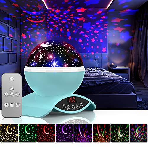Amouhom Sternenhimmel Projektor Lampe mit Fernbedienung, LED Nachtlicht mit Wiederaufladbare Batterie 360 Drehen und Timing Schlaflicht für Kinders Schlafzimmer Beste Geschenke für Frauen(Blau)
