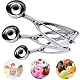 BASEIN Ice Cream Scoop con Trigger Acero inoxidable multifunción para Ice Cream y Fruit 3pcs Set