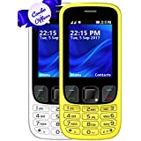 I KALL K6303 Dual Sim 2.4 Inch Display COMBO OF TWO Basic Mobile Feature Phone With 1800 Mah Battery Capacity, Bluetooth, GPRS, Flash Light, FM- White & Yellow
