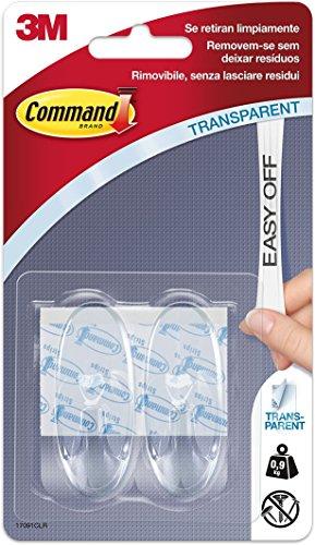 Command 17091CLR - Pack de 2 ganchos medianos de plástico, color transparente