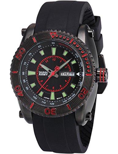SHARK ARMY Herren Armbanduhr Analog Quarz Tag Datum Anzeige Schwarz Silikon Band SAW158