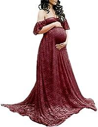IWEMEK Frauen Schwangerschaftskleid, Damen Mutterschaft Spitzenkleid Schulterfreies Kleid Schwangere Elegante Fotografie Stützen Off Schultern Mutterschaft Krankenpflege Kleid Langarm Maxi Kleid