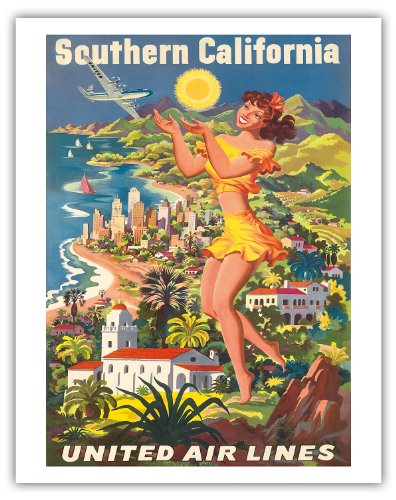 Pacifica Island Art Southern Kalifornien-United Air Lines-Vintage Airline Travel Poster von Joseph Fehér c.1950-Fine Art Print 11