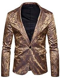 HaiDean Giacca da Uomo Blazer Cappotto da Blazer Grigio Casual Moderna  Sposa Elegante Tuxedo Slim Fit 4fd599bbe60