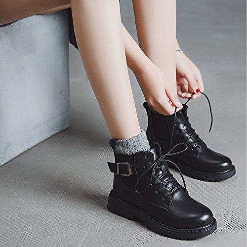 Scarpe donna pu inverno Comfort moda Stivali Stivali tacco basso punta tonda per esercito Casual Marrone Verde Nero,Black,US6 / EU36 / UK4 / CN36 Black