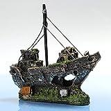 FOCUSPET Aquarium Dekoration Schiffs Schiffswrack Sinkendes Schiff Höhle Grotte Fisch