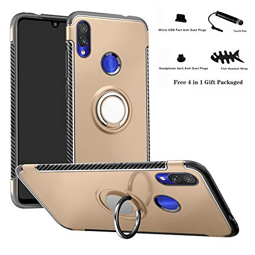 Labanema Redmi Note 7 Funda, 360 Rotating Ring Grip Stand Holder Capa TPU + PC Shockproof Anti-rasguños teléfono Caso protección Cáscara Cover para Xiaomi Redmi Note 7 /Redmi Note 7 Pro - Oro