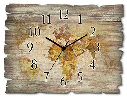 Artland Wanduhr ohne Tickgeräusche aus Holz Funk Uhr lautlos rechteckig 40x30 cm Querformat Weltkarte Länder Erde Landkarte Kunst Braun T9NI