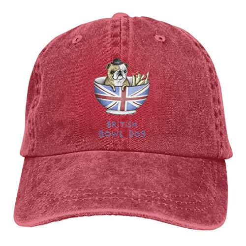 Xdevrbk British Bowl Dog Unisex Washed Adjustable Fashion Cowboy Hat Denim Baseball Caps Design18 -