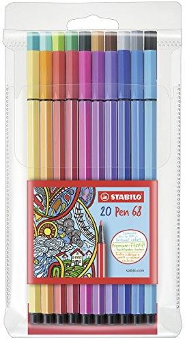 STABILO Premium-Filzstift - Pen 68-20er Pack - mit 20 verschiedenen Farben
