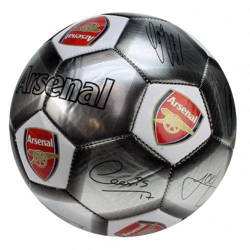 Arsenal FC Football Team Size 5 Player Signature Ball - Silver