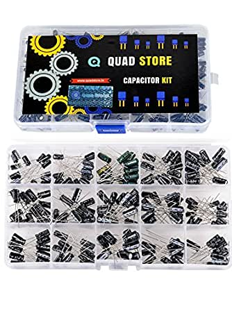 Quad Store(TM) 200 pieces with 15 Values Metal Electrolytic Capacitors Assorted Assortment Kit, Black