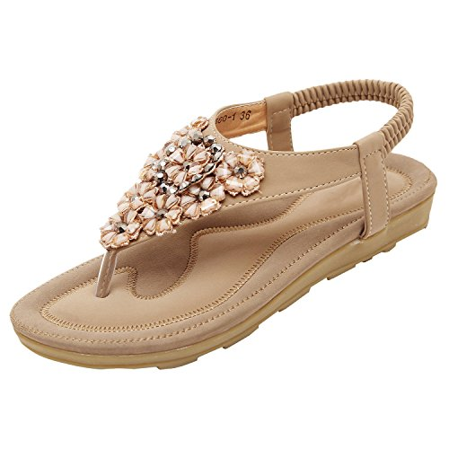 Senhoras Oasap Boho Strass Ornamento Sandálias Y Cinta-nua Tanga-6