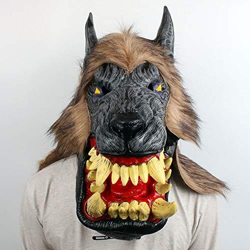 QWW Halloween Horror Killer Joker Maske ab Herren und Damen aus Latex roter Clown Kostüm Verkleidung,Wolf/Headgear (Halloween Kostüme Killer Clowns)