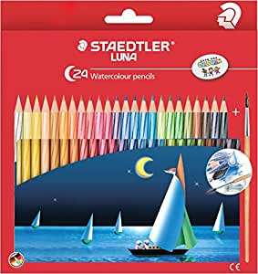 Staedtler Luna Classic 24-Color Water Color Pencil Set with Free Luna Colour Pencil