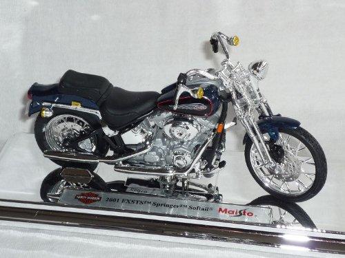 Harley Davidson 2001FXSTS Springer Softail blau 1/18Maisto Modellmotorrad Modell Motorrad