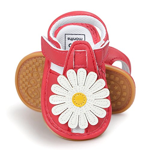Igemy 1 Paar Baby Mädchen Blumen Sandalen Casual Sneaker Anti-Rutsch Soft Sole Kleinkind Schuhe Rot