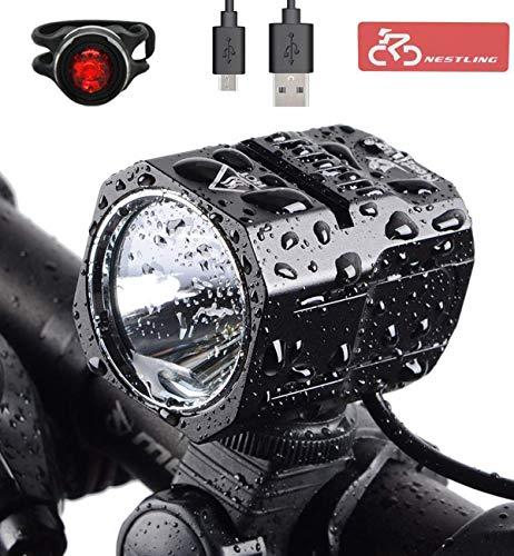 Nestling Luci per Bicicletta,Luci LED per Bicicletta Ricaricabili USB, 2400 Lumen Luce Bici, Quattro modalità di Illuminazione,et luci Bici Impermeabili IP65 per Pilota Notturno,Ciclismo e Campeggio