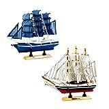 Sharplace 2X Nautico Legno Pirata Barca A Vela Nave Arredamento Soprammobili Regalo Decorazione Casa Ufficio - Blu bianco