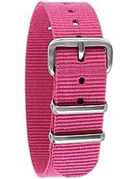 Pacific Time 10002 Bracelet de montre de rechange en textile avec boucle ardillon Rose