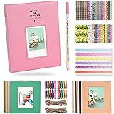 Katia 128 Pockets Album fotografico da 3 pollici Accessori per Fujifilm Instax Mini 7s / 8/9/25 / 50s Macchina fotografica istantanea con cornice appesa / Adesivi / Penna -Flamingo rosa