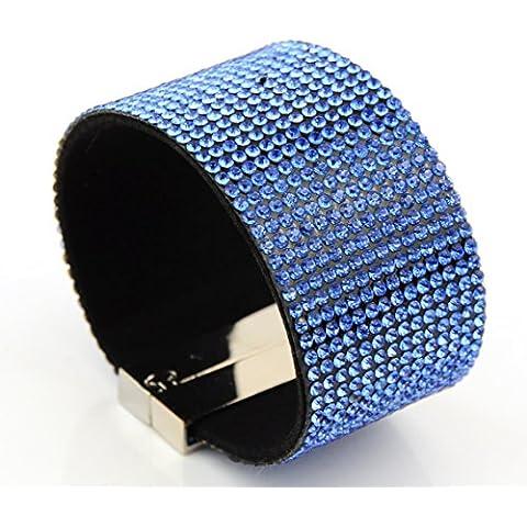 , ampio strass Bracciale Chiusura magnetica nero Light Blue